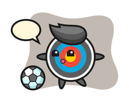 Illustration of target archery cartoon is playing soccer, cute style design for t shirt, sticker, logo element