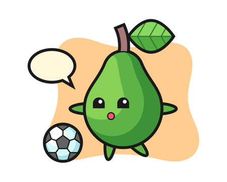 Illustration of avocado cartoon is playing soccer, cute style design for t shirt, sticker, logo element Ilustracja