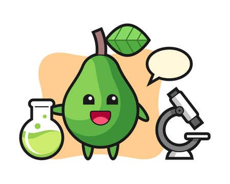 Mascot character of avocado as a scientist, cute style design for t shirt, sticker, logo element