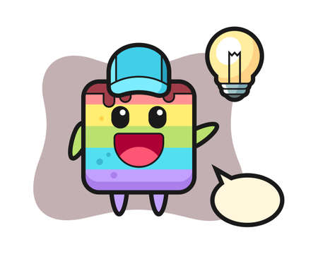 Rainbow cake character cartoon getting the idea, cute style design for t shirt, sticker, logo element