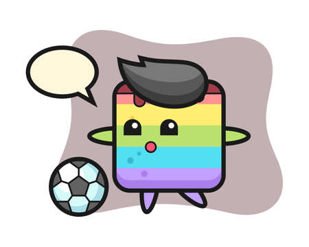 Illustration of rainbow cake cartoon is playing soccer, cute style design for t shirt, sticker, logo element