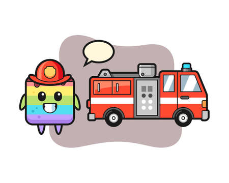 Mascot character of rainbow cake as a firefighter, cute style design for t shirt, sticker, logo element