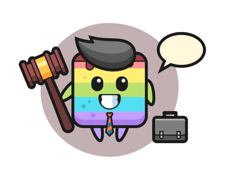 Illustration of rainbow cake mascot as a lawyer, cute style design for t shirt, sticker, logo element