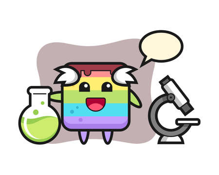 Mascot character of rainbow cake as a scientist, cute style design for t shirt, sticker, logo element Vettoriali