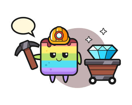 Character illustration of rainbow cake as a miner, cute style design for t shirt, sticker, logo element