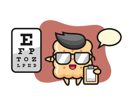 Illustration of cracker mascot as a ophthalmology, cute style design for t shirt, sticker element