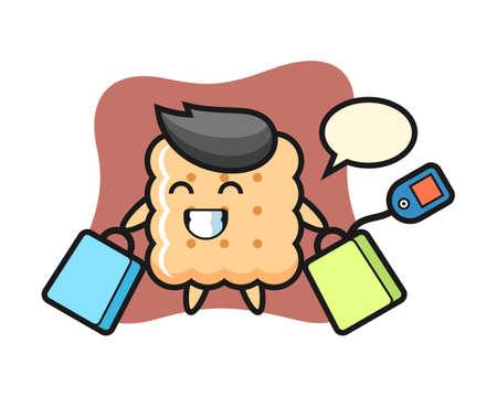 Cracker mascot cartoon holding a shopping bag, cute style design for t shirt, sticker element