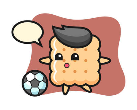 Illustration of cracker cartoon is playing soccer, cute style design for t shirt, sticker element