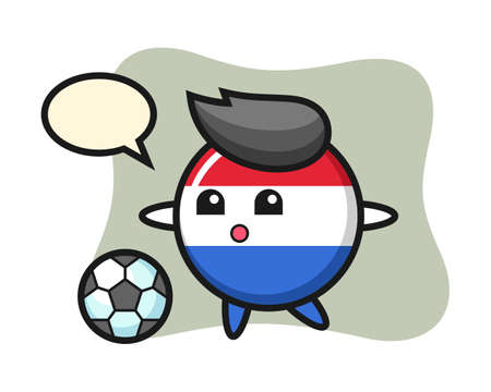 Illustration of Netherlands flag badge cartoon is playing soccer, cute style design for t shirt, sticker element
