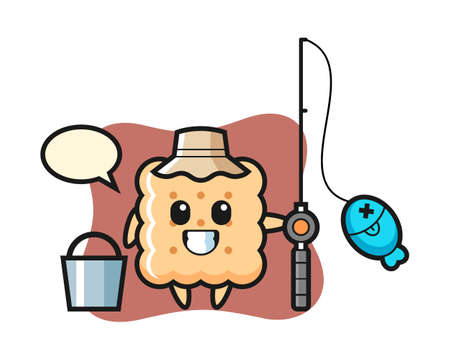 Mascot character of cracker as a fisherman, cute style design for t shirt, sticker element Ilustração