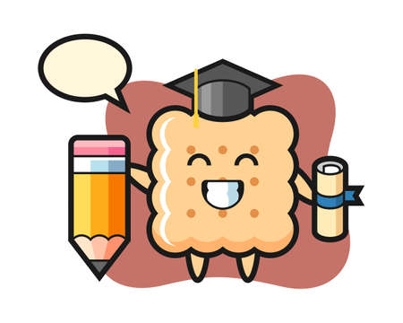 Cracker illustration cartoon is graduation with a giant pencil, cute style design for t shirt, sticker element