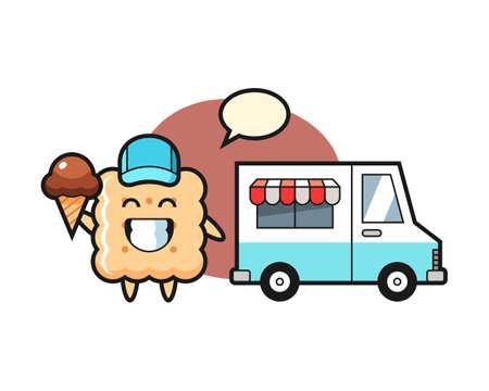 Mascot cartoon of cracker with ice cream truck, cute style design for t shirt, sticker element