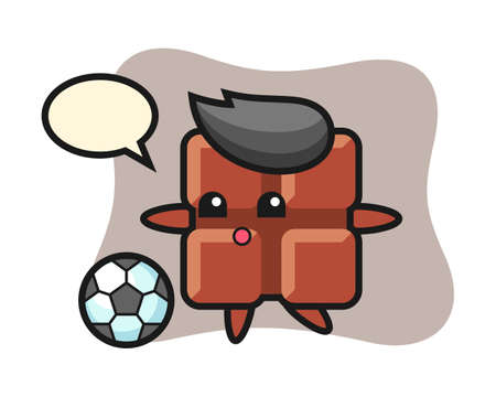 Illustration of chocolate bar cartoon is playing soccer, cute style design for t shirt, sticker, logo element Ilustracja