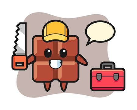 Illustration of chocolate bar character as a woodworker, cute style design for t shirt, sticker, logo element