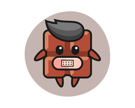 Cartoon illustration of chocolate bar with tape on mouth, cute style design for t shirt, sticker, logo element