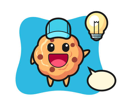 Chocolate chip cookie character cartoon getting the idea, cute style design for t shirt, sticker, logo element