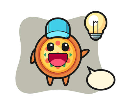 Pizza character cartoon getting the idea, cute style design for t shirt, sticker, logo element