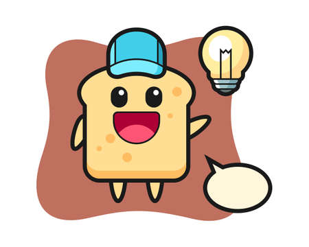 Bread character cartoon getting the idea, cute style design for t shirt, sticker, logo element