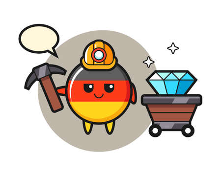 Character illustration of germany flag badge as a miner, cute style design for t shirt, sticker, logo element Иллюстрация