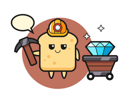 Character illustration of bread as a miner, cute style design for t shirt, sticker, logo element
