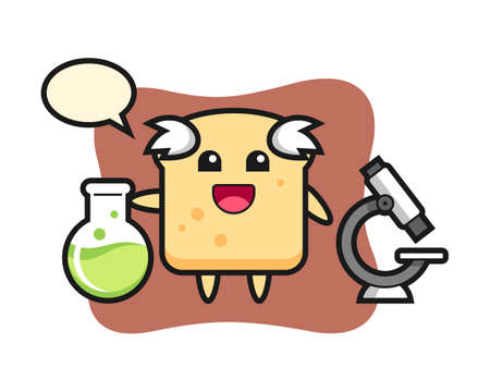 Mascot character of bread as a scientist, cute style design for t shirt, sticker, logo element