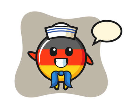 Character mascot of germany flag badge as a sailor man, cute style design for t shirt, sticker, logo element