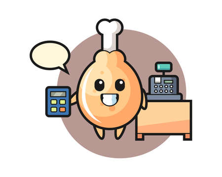 Illustration of fried chicken character as a cashier, cute style design for t shirt, sticker, logo element Logo