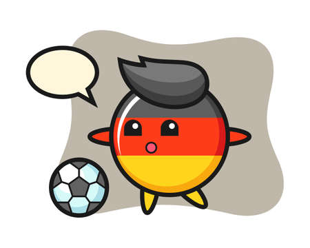 Illustration of germany flag badge cartoon is playing soccer, cute style design for t shirt, sticker, logo element Ilustracja