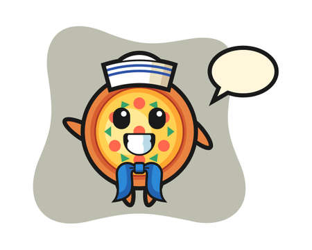 Character mascot of pizza as a sailor man, cute style design for t shirt, sticker, logo element Ilustração