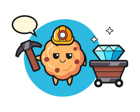 Character illustration of chocolate chip cookie as a miner, cute style design for t shirt, sticker, logo element