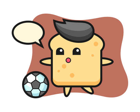 Illustration of bread cartoon is playing soccer, cute style design for t shirt, sticker, logo element Ilustracja