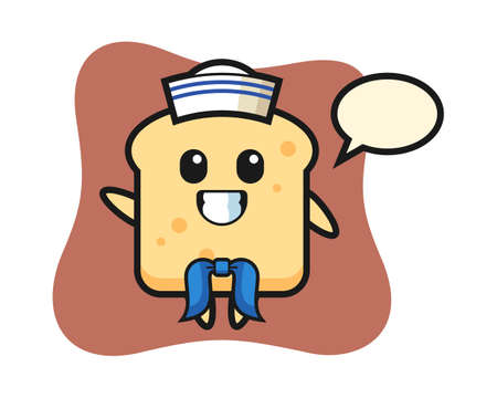 Character illustration of bread as a sailor man, cute style design for t shirt, sticker, logo element Ilustração
