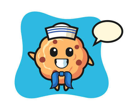Character mascot of chocolate chip cookie as a sailor man, cute style design for t shirt, sticker, logo element Ilustração