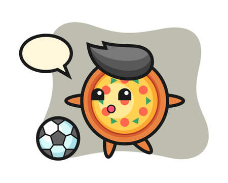 Illustration of pizza cartoon is playing soccer, cute style design for t shirt, sticker, logo element Ilustracja