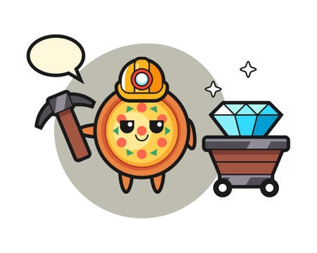Character illustration of pizza as a miner, cute style design for t shirt, sticker, logo element