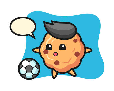 Illustration of chocolate chip cookie cartoon is playing soccer, cute style design for t shirt, sticker, logo element