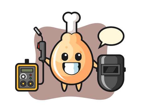 Character mascot of fried chicken as a welder, cute style design for t shirt, sticker, logo element