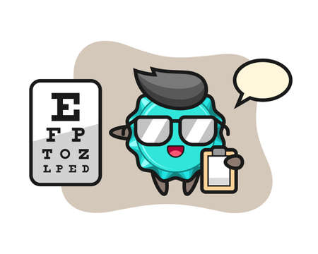Illustration of bottle cap mascot as a ophthalmology, cute style design for t shirt, sticker, logo element Illustration