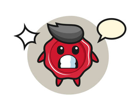 Sealing wax character cartoon with shocked gesture, cute style design for t shirt, sticker, logo element