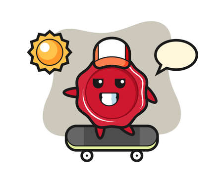 Sealing wax character illustration ride a skateboard, cute style design for t shirt, sticker, logo element