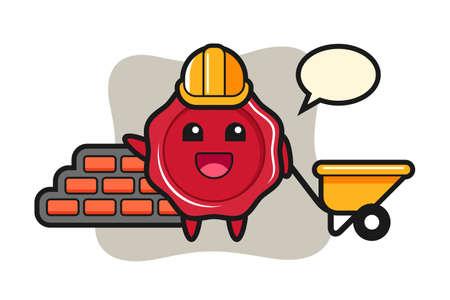 Cartoon character of sealing wax as a builder, cute style design for t shirt, sticker, logo element