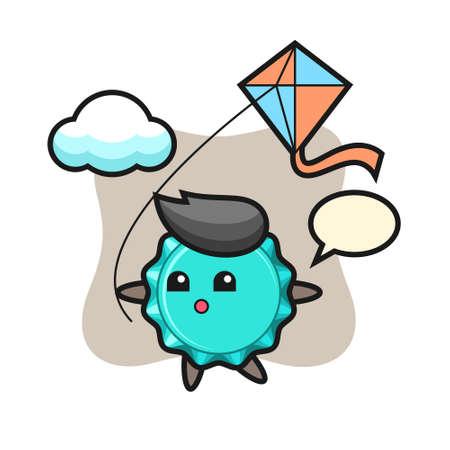bottle cap mascot illustration is playing kite, cute style design for t shirt, sticker, logo element