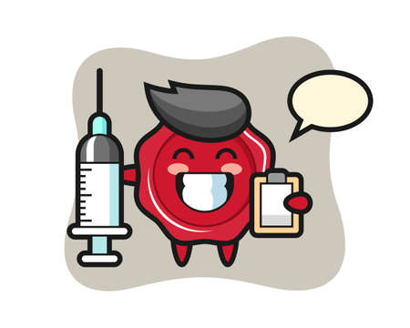 Mascot illustration of sealing wax as a doctor, cute style design for t shirt, sticker, logo element