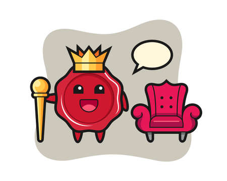 Mascot cartoon of sealing wax as a king, cute style design for t shirt, sticker, logo element