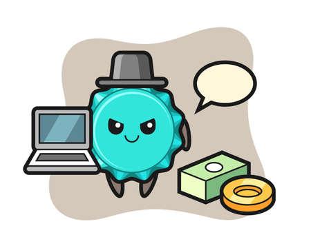 Mascot Illustration of bottle cap as a hacker, cute style design for t shirt, sticker, logo element 向量圖像