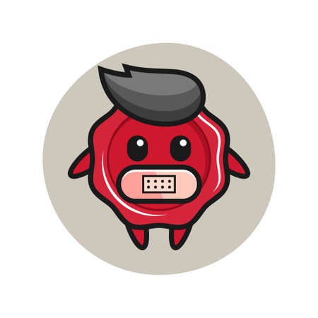 Cartoon illustration of sealing wax with tape on mouth, cute style design for t shirt, sticker, logo element