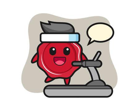 Sealing wax cartoon character walking on the treadmill, cute style design for t shirt, sticker, logo element