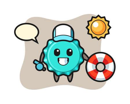 Cartoon mascot of bottle cap as a beach guard, cute style design for t shirt, sticker, logo element