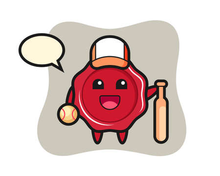 Cartoon character of sealing wax as a baseball player, cute style design for t shirt, sticker, logo element