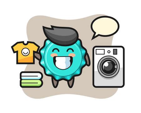 Mascot cartoon of bottle cap with washing machine, cute style design for t shirt, sticker, logo element Vettoriali